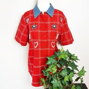 Lemon Grass Red White and Blue Embroidered Shirt